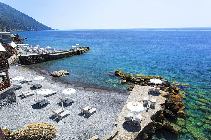 Private beach of the Hotel Cenobio dei Dogi in Camogli