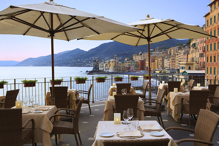 Panoramic terrace of the Hotel Cenobio dei Dogi in Camogli